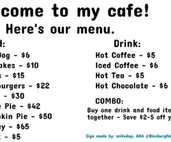 How To Make A Cafe Menu Decal Roblox - Wholefed org